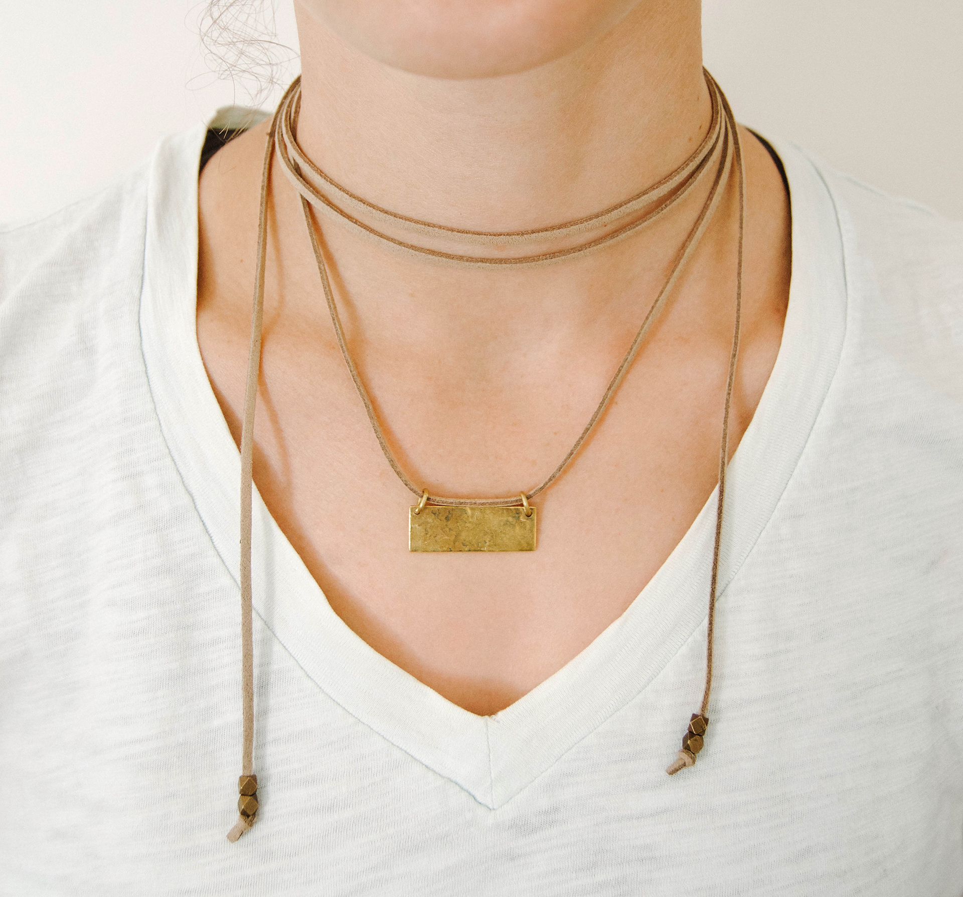 Brass Leather Bolo Necklace